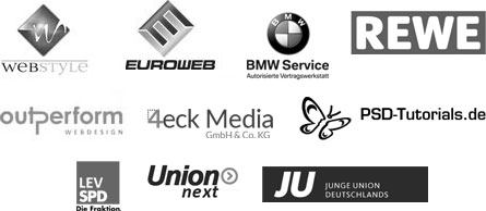 Webstyle, Euroweb, BMW Service, Rewe, Out-Perform, 4eck-Media, PSD-Tutorials.de, SPD, Union Next, Junge Union