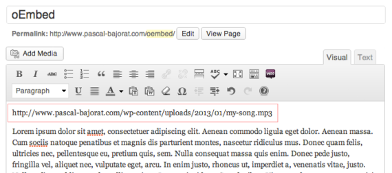 PB oEmbed HTML5 Audio