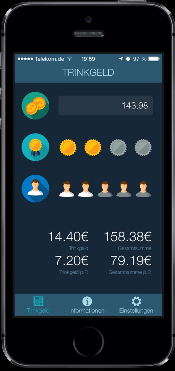 Trinkgeldrechner - iOS / Android App