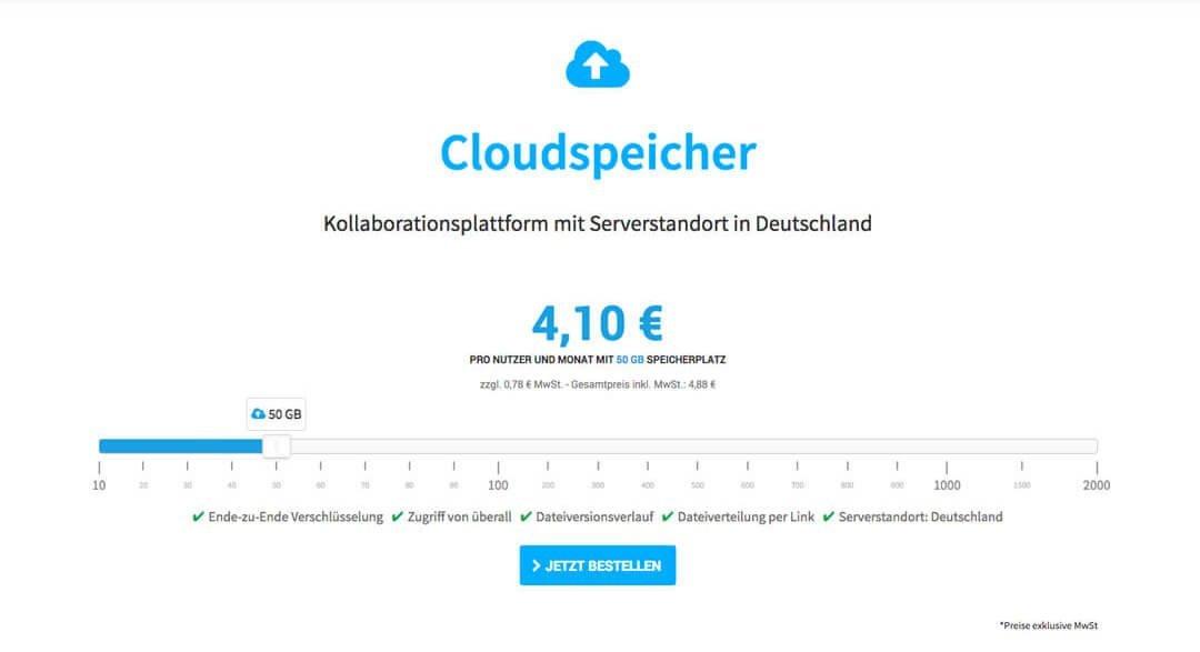 Hosting Base - Cloudspeicher Bestellsystem